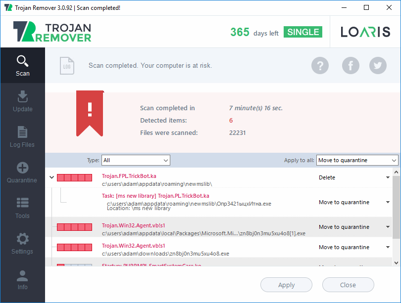 Loaris Trojan Remover - show viruses