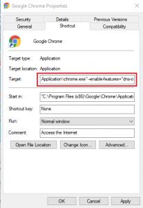 Google Chrome - DNS-over-HTTPS target