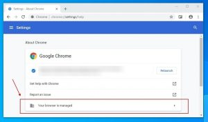 About Google Chrome - Your browser is managed