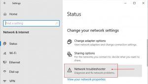 Windows 10 - Network troubleshooter