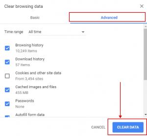 Google Chrome - Clear browsing data
