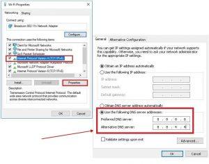 (TCP/IPv4) - Use the following DNS server addresses