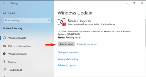 Windows updates and Restart panel