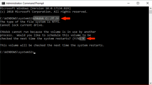Scan Disk for Errors - chkdsk C: /f /r