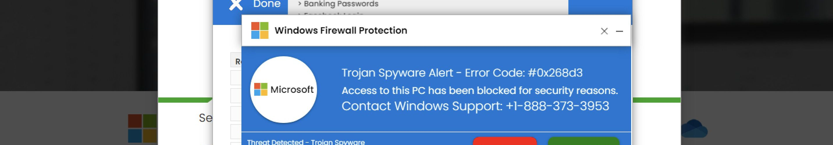 Trojan Spyware Alert - Error Code: #0x268d3